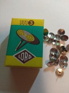 RETRO připínáčky LORD, KIN, původní papírová krabička, nepoužité
