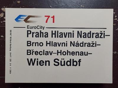 Směrová cedule DB - EC 71 (Praha - Wien)