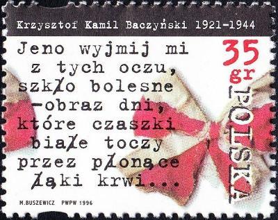 Polsko 1996 Známky Mi 3571 ** poezie Druhá světová válka Baczynski