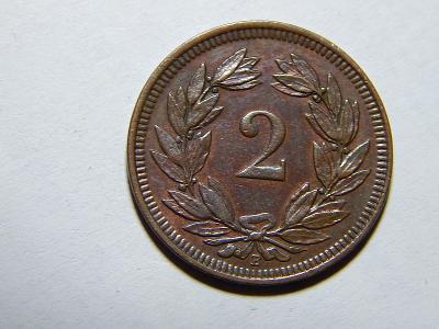 Švýcarsko 2 Rappen 1908B RR XF č11909