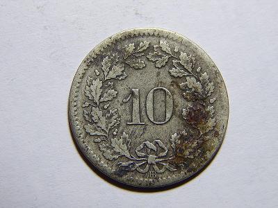 Švýcarsko 10 Rappen 1850BB VZÁCNÉ! VF č11910