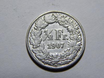 Švýcarsko 1/2 Franc 1907B R VF č11913