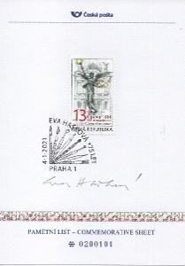 PL100 České pošty z 4.1.2021 k 75. narozeninám Evy Haškové - podpis
