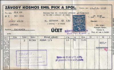 Kosmos faktura 12.12.1936, kolek 40h, hezký stav