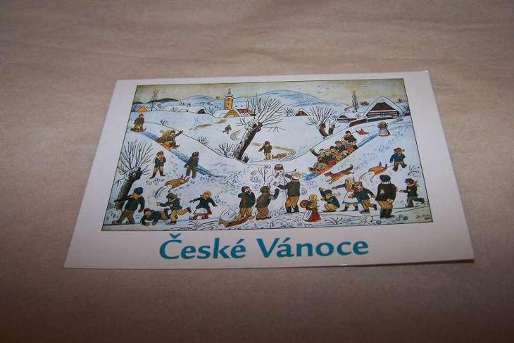 JOSEF LADA děti sáně sněhulák bruslení  ČESKÉ VÁNOCE /B160 B/ - Pohlednice