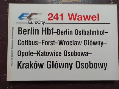 Směrová cedule DB - EC 241 WAWEL