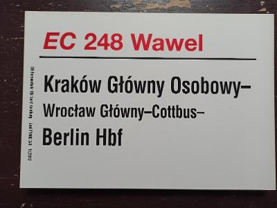 Směrová cedule DB - EC 248 WAWEL