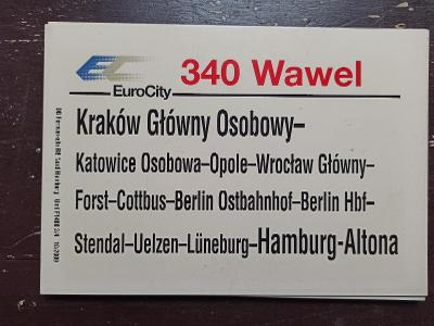 Směrová cedule DB - EC 340 WAWEL