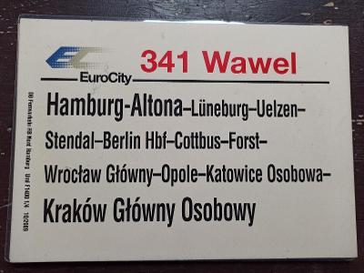 Směrová cedule DB - EC 341 WAWEL