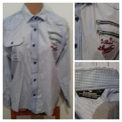 Pánská košile dl. rukáv modrá pruhovaná, vel. L