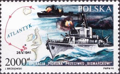 Polsko 1991 Známky Mi 3332 ** Druhá světová válka lodě