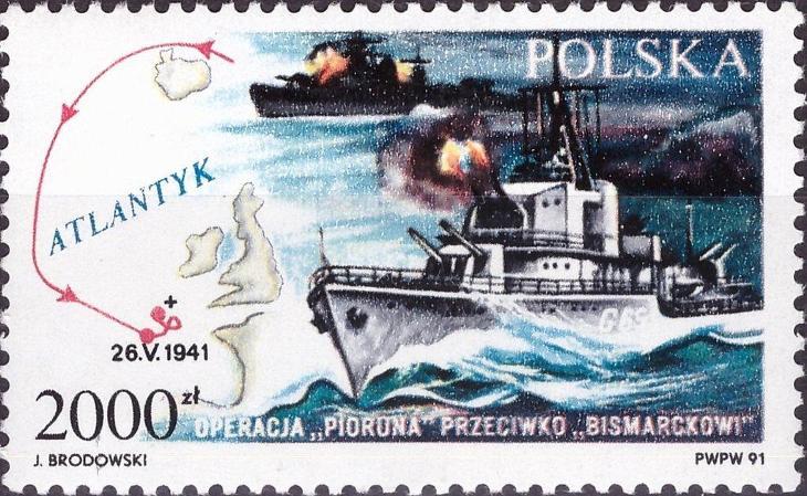 Polsko 1991 Známky Mi 3332 ** Druhá světová válka lodě - Filatelie
