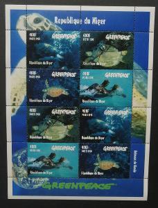 Niger 1998 Mi.1472-5 20€ Karety, želvy, plazi, fauna moří, GREENPEACE