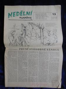První svobodné vánoce. Noviny z 23. prosince 1945.