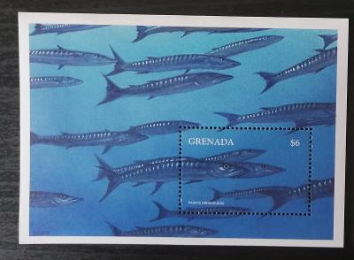 Grenada 1997 Bl.457 8€ Ryby Karibiku, barakudy, fauna moří
