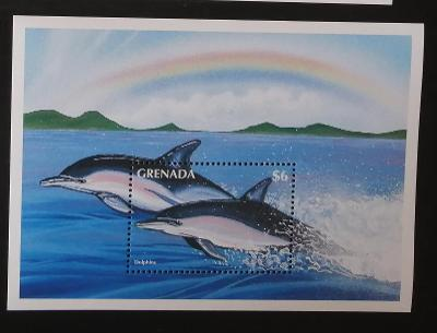Grenada 1996 Bl.441 8€ Ryby Karibiku, delfíni, fauna moří