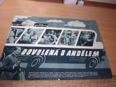 Starý reklamní filmový plakát k filmu DOVOLENÁ S ANDĚLEM J. Marvan