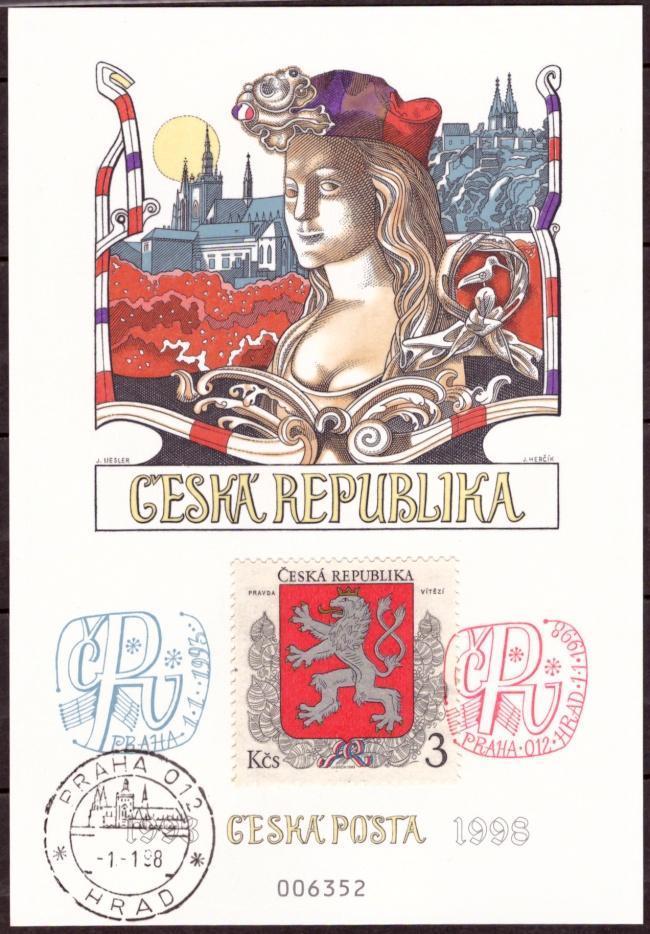 POF. PAL 5 + DOPISNICE CDV 28 - RAZÍTKA HRAD 1.1.1998 (T4105) - Filatelie