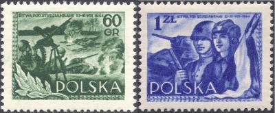 Polsko 1954 Známky Mi 866-867 ** Druhá světová válka bitva vojáci tank