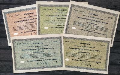 AKCIE 5x Dresden 17, 20, 85, 175, 340 Reichsmark 1930