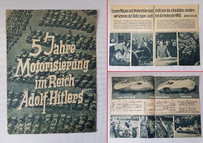 Stará reklamní brožura - 5 let motorizace v říši Adolfa Hitlera Hitler
