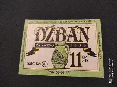 Džbán Jihomoravské pivovary etiketa