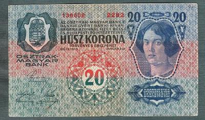 20 korun 1913 serie 2282 bez přetisku