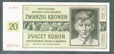 20 korun 1944 serie S.09H NEPERFOROVANA stav 1