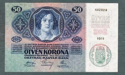 50 korun 1914 serie 1011 bez přetisku pěkný stav