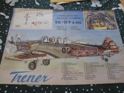 Plakát Prospekt Dvoumístný školní letoun OK IFVZ 196  od-1kč