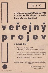 Leták Veřejný projev KSČ Spořilov 14.října 1945