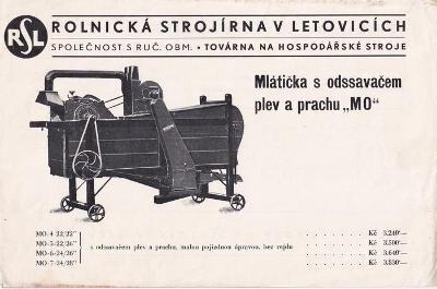 Leták Rolnická strojírna v Letovicích