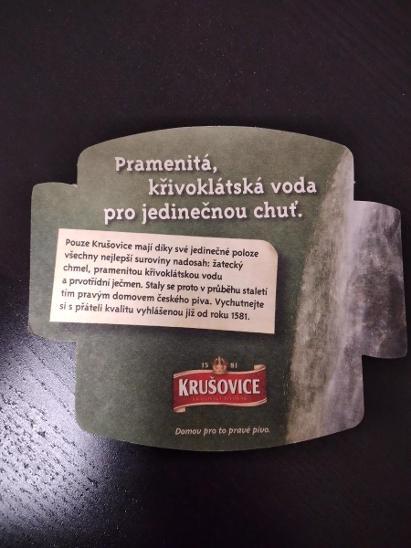 Pivní podtácek - Krušovice  - Nápojový průmysl