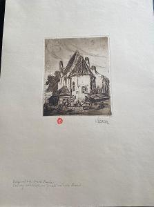 Stará grafika Praha - signována Maran -  Malá strana - Jánský kostelík