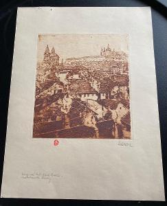 Stará grafika Praha - signována Maran -  Malá strana - střechy