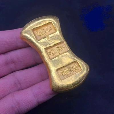 ČÍNA dynastie QING cihlička sycee ingot 180 gram cihla pozlacená kopie