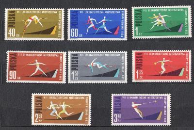 Polsko 1962 Známky Mi 1338-1345A ** sport Lehká atletika hod oštěpem