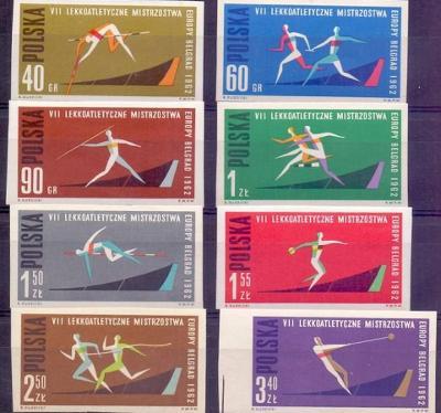 Polsko 1962 Známky Mi 1338-1345B ** sport Lehká atletika hod oštěpem