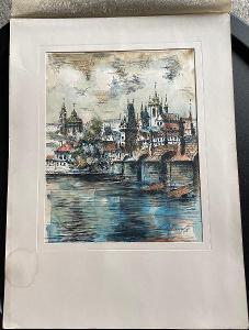 Stará lavírovaná perokresba - Praha - signováno