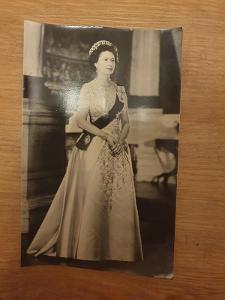 Staré foto královna Alžběta 14x9 cm