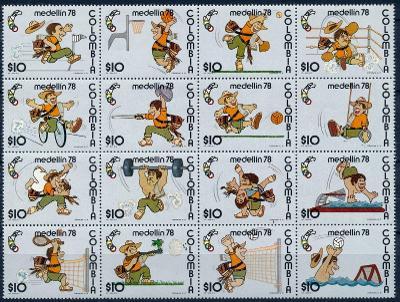 Kolumbie 1978 **/Mi 1358-73 aršík soutisk , komplet , sport , /L22/