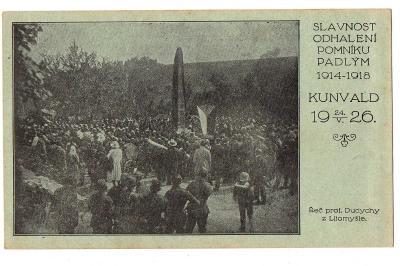 Kunvald - Odhalení Pomníku Padlým