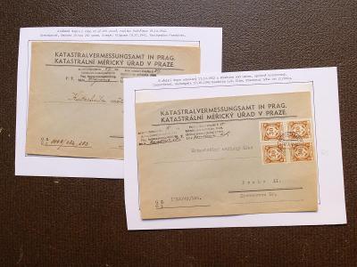 ČECHY MORAVA 1942 SLUŽEBNÍ NA DOPISECH ROUDNICE PELHŘIMOV VÝBORNÉ