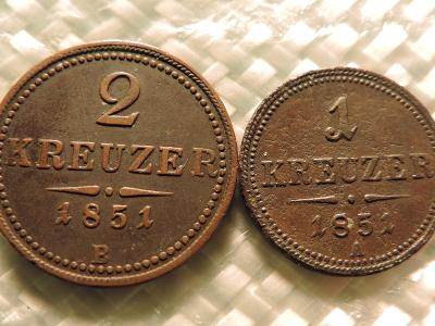 2 Kreuzer 1851 B, 1 Kreuzer 1851 A