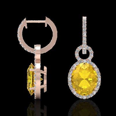 Nádherné náušnice z růžového zlata s citríny a  čirými diamanty