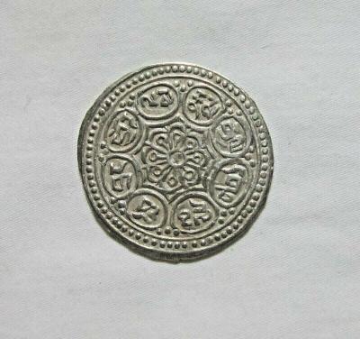 Tibet, Ga-den Tangka, prelom 19. a 20. stor., 8 symbolov šťastia
