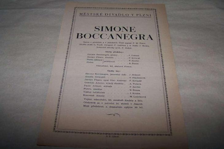 MÁJOVÝ CYKLUS SIMONE BOCCANEGRA / PLZEŇ   /B1691/ - Antikvariát