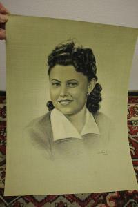 obraz-kresba sign.-portrét ženy