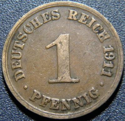 Německo Císařství 1 Pfennig 1911A XF č29904