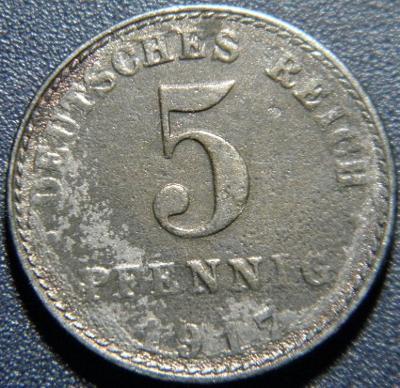 Německo Císařství 5 Pfennig 1917A F-VF č29909